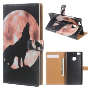 Leather Cover Wallet Stand Case for Huawei P9 Lite/G9 Lite - Wolf Howling at the Moon