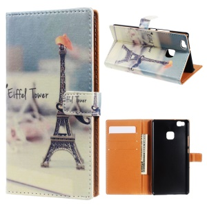 Leather Wallet Stand Flip Case for Huawei P9 Lite/G9 Lite - Eiffel Tower and Mustache
