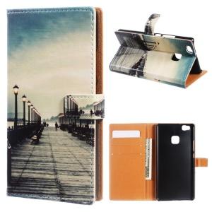 PU Leather Cover Wallet Case for Huawei P9 Lite/G9 Lite - Dock at Sunset