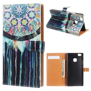 Leather Stand Card Slot Case for Huawei P9 Lite/G9 Lite - Tribal Dreamcatcher