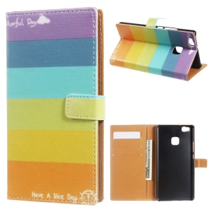 Leather Case Flip Card Holder for Huawei P9 Lite/G9 Lite - Colorful Rainbow Stripes