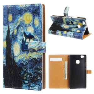Wallet Leather Cover Case for Huawei P9 Lite/G9 Lite - Oil Painting