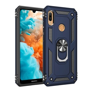 PC+TPU Kickstand Phone Cover for Huawei Y6 (2019, with Fingerprint Sensor) / Y6 Prime (2019) - Dark Blue