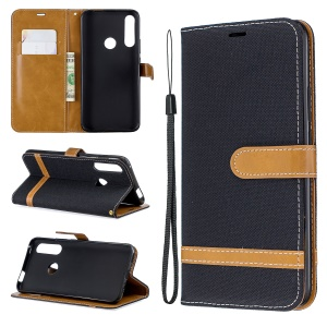 Assorted Color Jeans Cloth Wallet Stand Leather Case for Huawei P Smart Z - Black