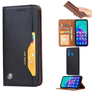 Auto-absorbed PU Leather Stand Wallet Phone Shell for Huawei Honor 9X (Global)/P Smart Z / Y9 Prime 2019 - Black
