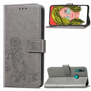 Imprint Four Leaf Clover Leather Wallet Stand Case with Strap for Huawei P Smart Z - Grey