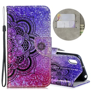 Laser Carving Pattern Printing Flip Leather Shell with Strap for Huawei Y5 (2019) / Honor 8S - Flower