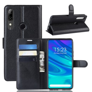 Litchi Texture Wallet Leather Phone Cover for Huawei P Smart Z / Y9 Prime 2019 - Black