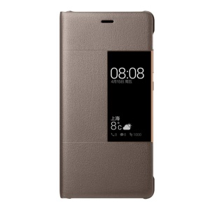 HUAWEI Smart View Window Leather Flip Cover for Huawei P9 Plus - Brown