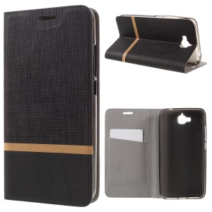 Cross Pattern Two-color Leather Stand Case for Huawei Y6 Pro / Enjoy 5 - Black
