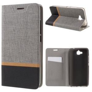 Cross Pattern Two-color Leather Stand Cover for Huawei Y6 Pro / Enjoy 5 - Grey