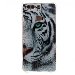 Air Cushion Drop-resistant TPU Case for Huawei P9 Plus - Tiger with Green Eye