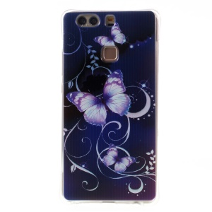 Air Cushion TPU Back Case for Huawei P9 Plus - Purple Butterflies and Vines