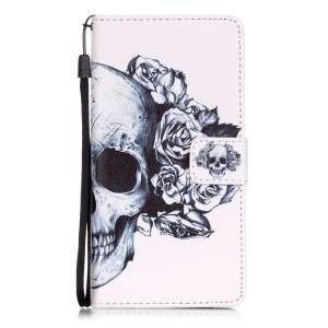 Patterned Leather Wallet Case for Huawei P9 Lite - Flower and Skull