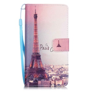 Patterned Leather Wallet Case for Huawei P9 Lite - Paris Eiffel Tower
