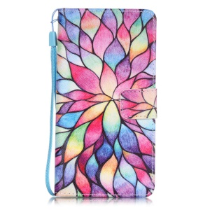 Patterned Leather Wallet Case for Huawei P9 Lite - Flower Petals