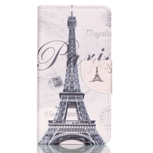 Cross Pattern Wallet Leather Stand Case for Huawei P9 Lite - Famous Eiffel Tower