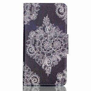 Cross Pattern Wallet Leather Phone Case for Huawei P9 Lite - Retro Flowers