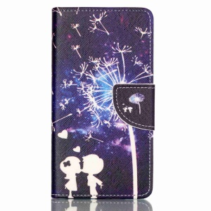 Cross Pattern Leather Wallet Case for Huawei P9 Lite - Lovers and Dandelion Pattern