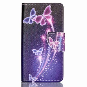 Cross Pattern Leather Wallet Cover for Huawei P9 Lite - Vivid Butterflies