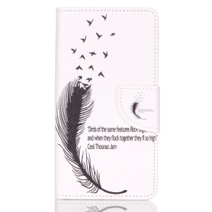 Cross Pattern Wallet Leather Protective Case for Huawei P9 Lite - Feather Pattern and English Characters