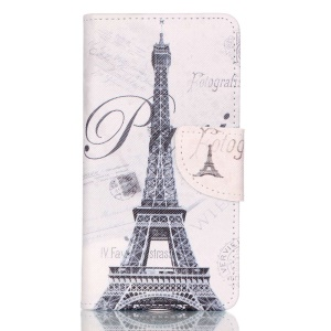 Cross Pattern Leather Wallet Case for Huawei P9 - Eiffel Tower