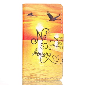 Cross Pattern Leather Wallet Cover for Huawei P9 - Quote Never Stop Dreaming