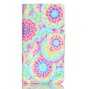 Cross Pattern Wallet Leather Stand Case for Huawei P9 - Colorful Flowers