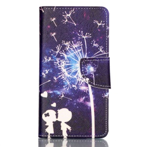 Cross Pattern Wallet Leather Stand Cover for Huawei P9 - Lovers and Dandelion Pattern