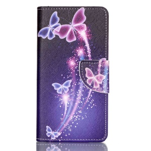 Cross Pattern Magnetic Leather Stand Cover for Huawei P9 - Vivid Butterflies