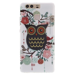 Patterned TPU Phone Case for Huawei P9 - Owl and Flowering Tree