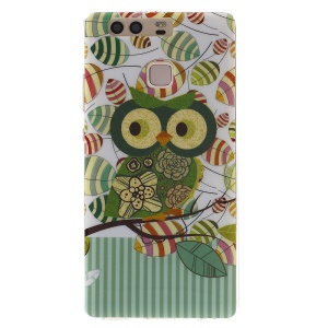 Patterned TPU Back Case for Huawei P9 - Green Owl