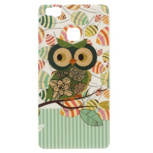 Patterned TPU Skin Case for Huawei P9 Lite / G9 Lite - Owl and Leaves