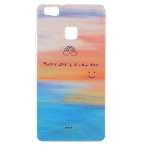 Patterned TPU Skin Cover for Huawei P9 Lite / G9 Lite - Positive Motto and Smiling Face