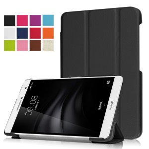 Tri-fold Stand PU Leather Case for Huawei MediaPad M2 7.0 - Black