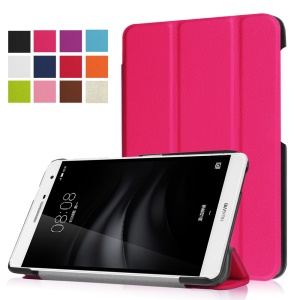 Tri-fold Stand PU Leather Shell for Huawei MediaPad M2 7.0 - Rose