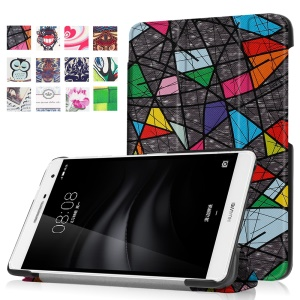 Pattern Printing Tri-fold Leather Stand Case for Huawei MediaPad M2 7.0 - Beauty of Lines