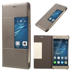 Smart View Leather Cover Case for Huawei P9 - Brown