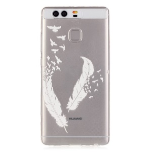 Embossment TPU Gel Case for Huawei P9 - Feather Pattern