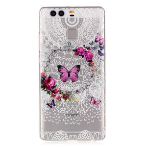 Embossment TPU Gel Case for Huawei P9 - Butterflies and Flowers