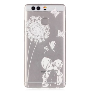 Embossment TPU Gel Case for Huawei P9 - Dandelion and Kissing Lover