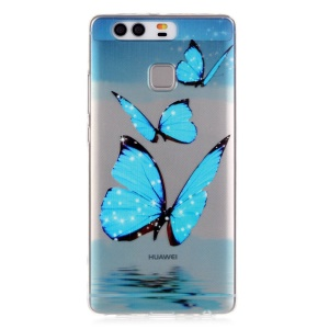 Embossment TPU Gel Case for Huawei P9 - Blue Butterfly