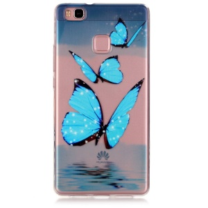Embossed TPU Phone Back Case for Huawei P9 Lite - Blue Butterfly