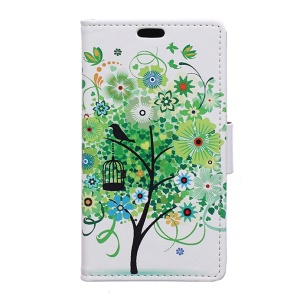 Wallet Leather Case for Huawei Y5II - Green Tree & Bird Cage