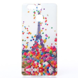 Soft IMD TPU Case for Huawei P9 - Eiffel Tower and Colorized Balloon