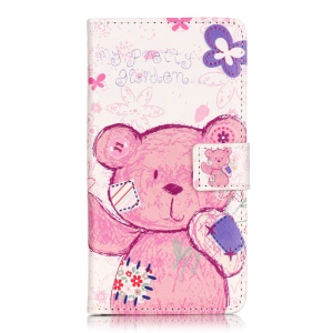 Embossed Leather Card Slots Case for Huawei Y5II - Cute Bear