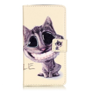 Embossed Leather Card Slots Cover for Huawei Y5II - Lovely Cat