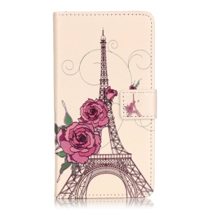 Embossed Leather Wallet Case for Huawei Y5II - Flowers and Eiffel Tower
