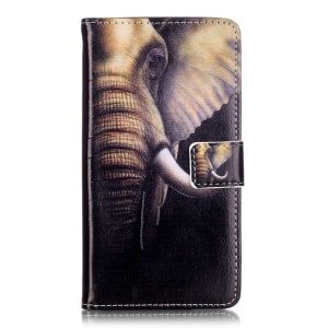 Embossed Leather Stand Case for Huawei Y5II - Elephant Pattern