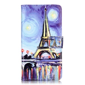 Embossed Leather Wallet Shell Case for Huawei Y5II - Starry Sky and Eiffel Tower